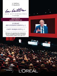 """Couverture - """"La lettre aux actionnaires - N°73 - Été 2019"""""""