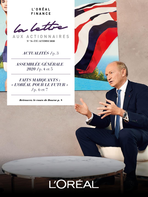 """Couverture - """"La lettre aux actionnaires - N°76 - Été / Automne 2020"""""""
