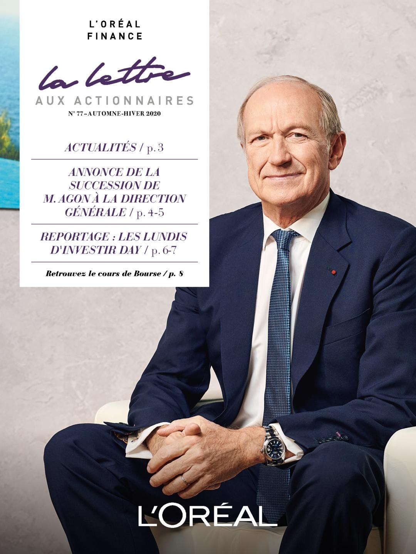 """Couverture - """"La lettre aux actionnaires - N°77- Automne / Hiver 2020"""""""